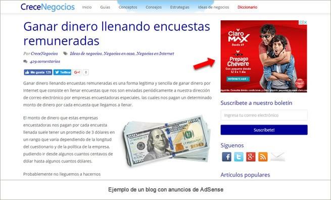 ejemplo de un blog con anuncios