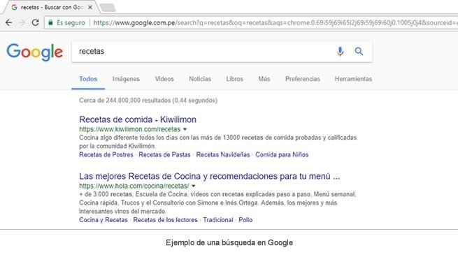 ejemplo de una búsqueda en Google